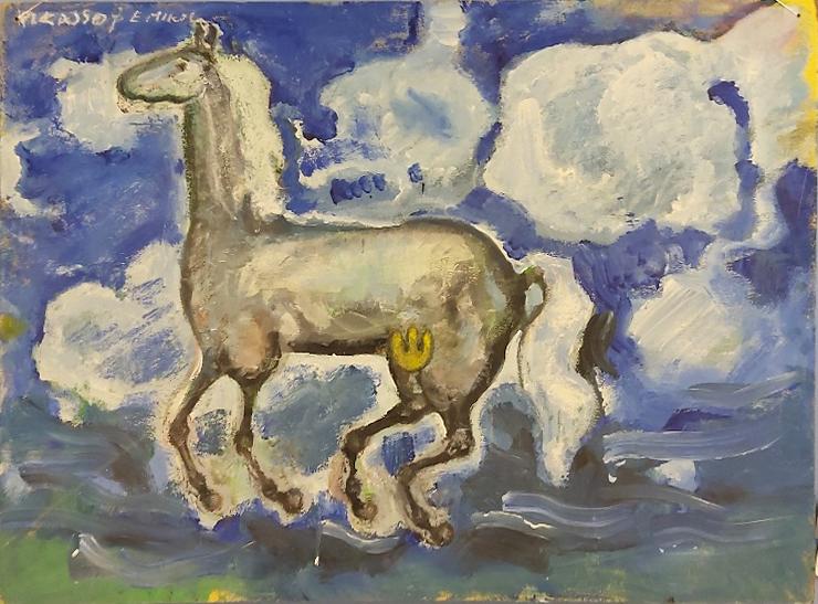 Maalaus vaaleasta hevosesta, taustalla pilviä, sinistä taivasta ja auringonpilkahdus.