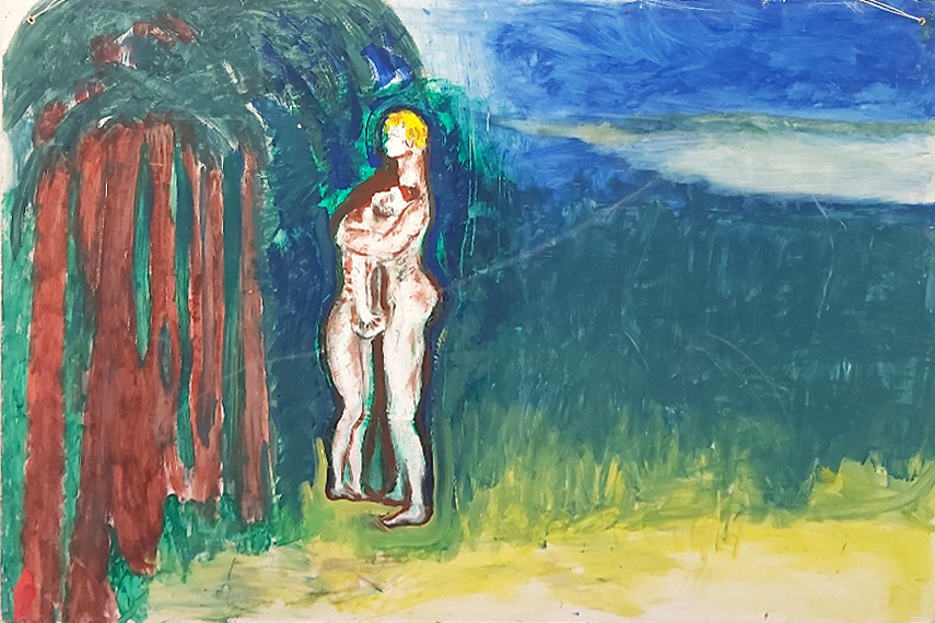 Kaksi alastonta ihmistä halaa toisiaan metsän reunassa. Maalaus.