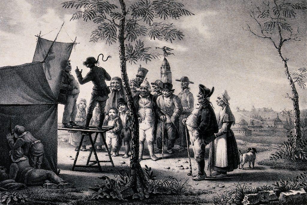 Vanha mustavalkoinen litografia, jossa kansa katsoo kahta esiintyjää.